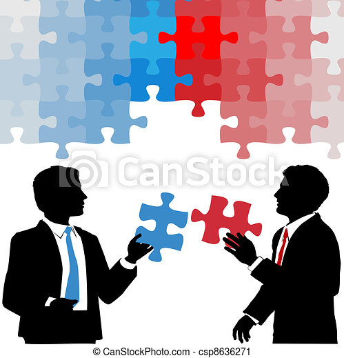 Business people hold collaboration puzzle solution - csp8636271