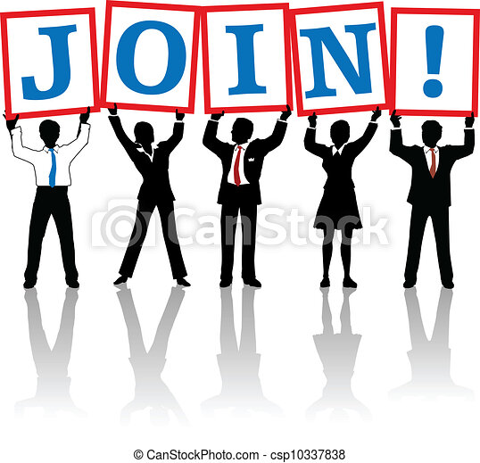 Business people hold up Join signs - csp10337838