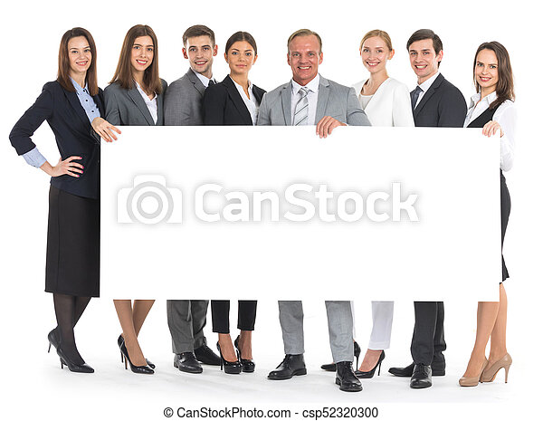 Business people holding a banner - csp52320300