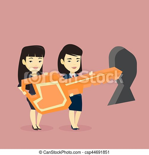 Business people holding key in front of keyhole. - csp44691851