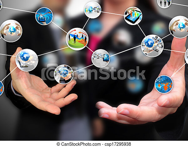 Business people holding social media  - csp17295938