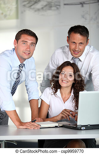 Business people in a work meeting in the office - csp9959770