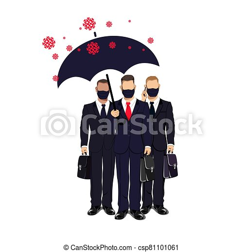 business people in medical masks - csp81101061