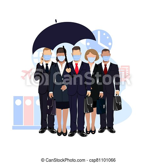 business people in medical masks - csp81101066
