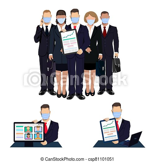 business people in medical masks - csp81101051