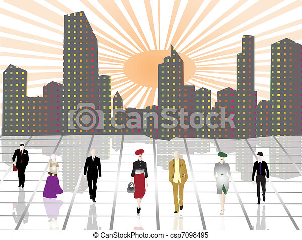 Business people in the city - csp7098495