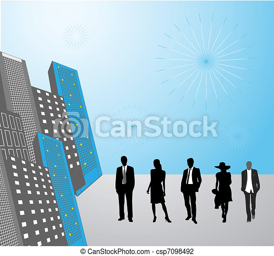 Business people in the city - csp7098492