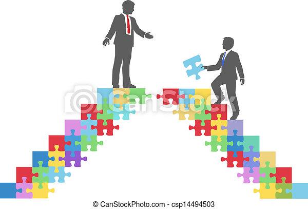 Business people join connect puzzle bridge - csp14494503