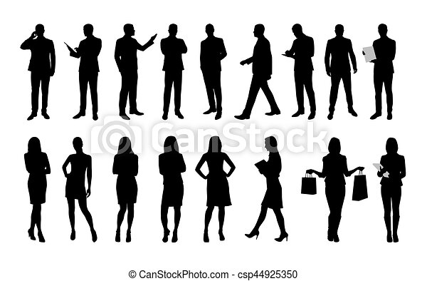 Business People Large Set Of Vector Silhouettes Of Men And Women