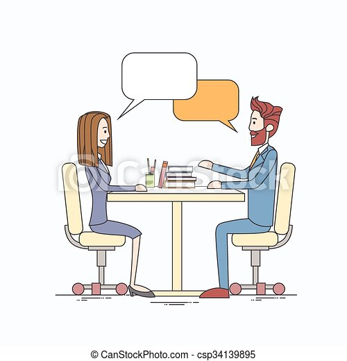 Business People Man and Woman Talking Discussing Communication Sitting at Office Desk Bubble Chat Box - csp34139895