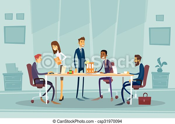 Business People Meeting Discussing Office Desk - csp31970094