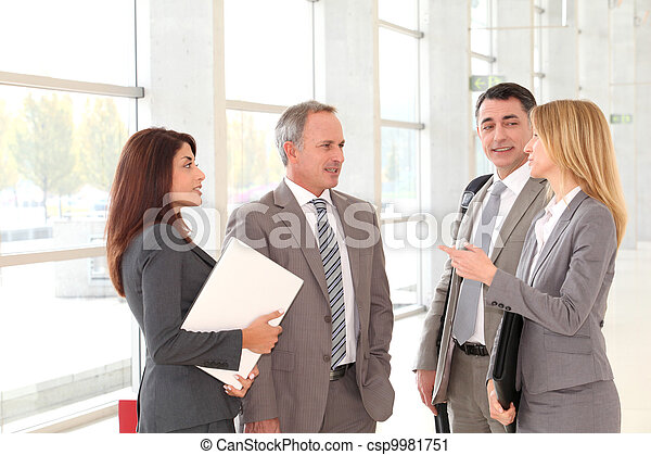 Business people meeting in congress hall - csp9981751