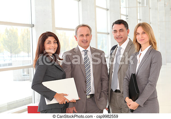 Business people meeting in congress hall - csp9982559