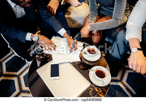 Business people meeting in office top view - csp54085866