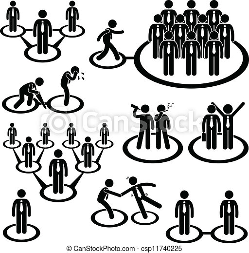 Business People Network Connection A Set Of Pictogram Representing