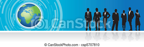 business people on a world banner - csp5707810