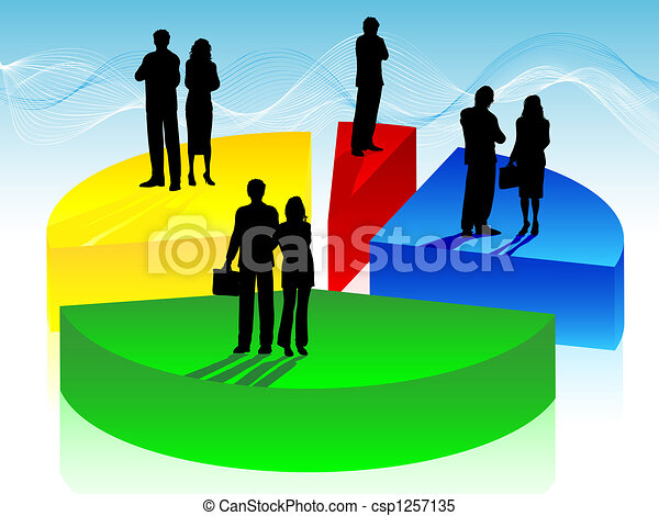 Business people on pie chart - csp1257135