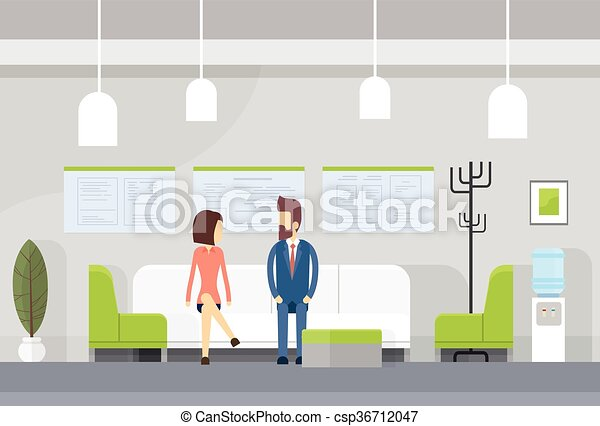 Business People On Sofa, Modern Office Waiting Room Interior - csp36712047
