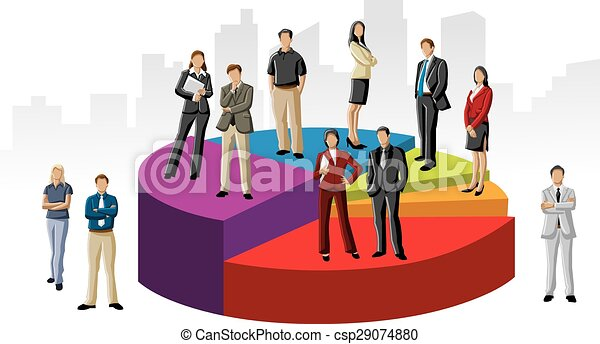 business people over chart - csp29074880