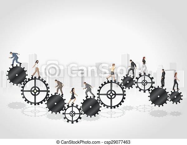 Business people over Cogwheel - csp29077463