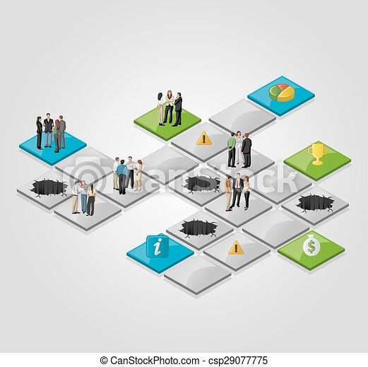 business people over path. - csp29077775