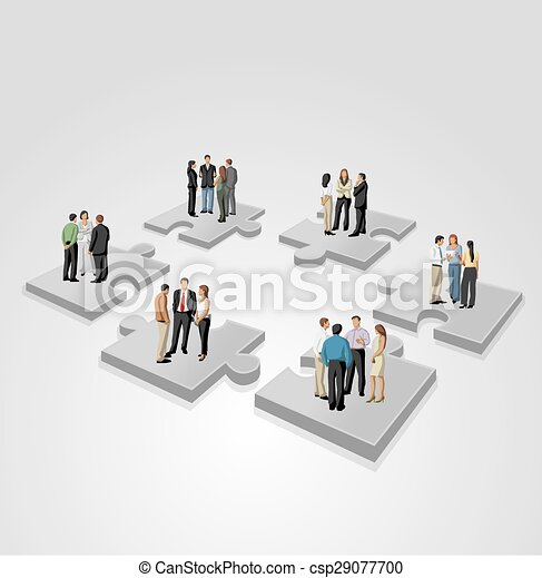 business people over puzzle pieces - csp29077700