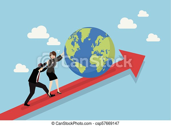 Business people pushing the world on graph up - csp57669147