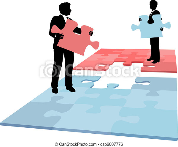 Business people puzzle piece solution collaboration merger - csp6007776