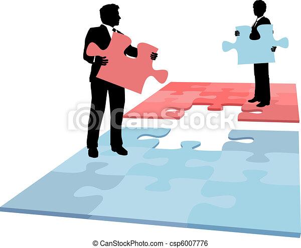 Business people puzzle piece solution collaboration merger - csp6007776