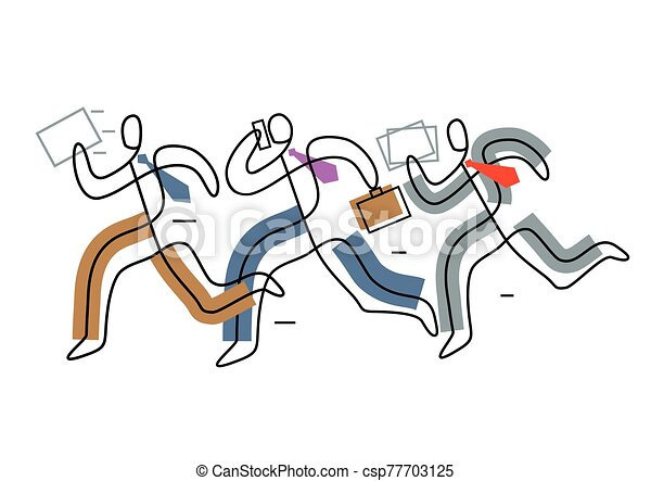 Business people running in a hurry. - csp77703125