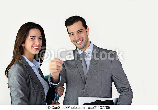 Business people showing business card - csp21137705