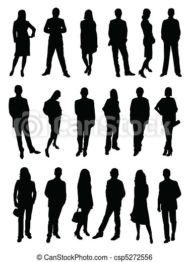 Business people, silhouette  - csp5272556