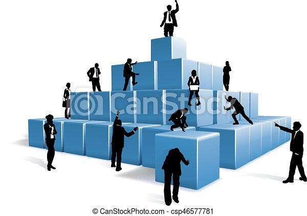 Business People Silhouettes Team Building Blocks - csp46577781