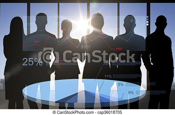 business people silhouettes with pie chart - csp36018705