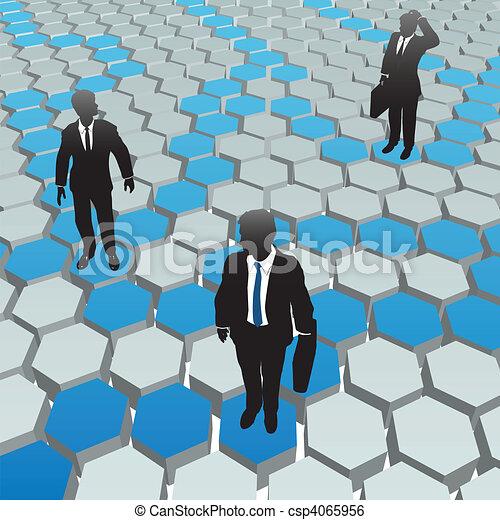 Business people social media hexagon network - csp4065956