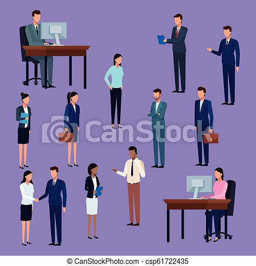 Business people standing and working at desk cartoon - csp61722435