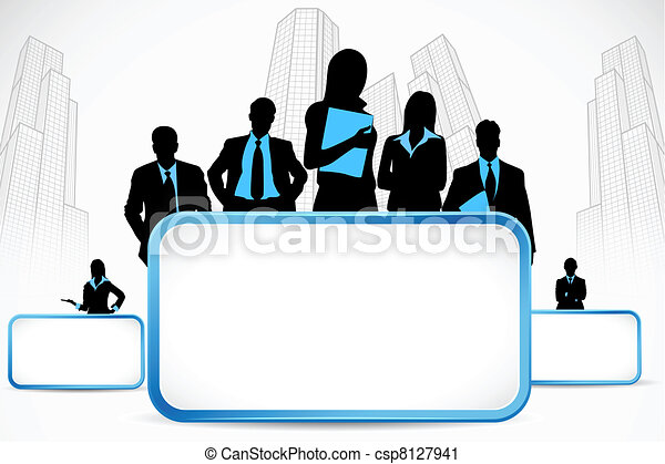 Business People standing with Placard - csp8127941