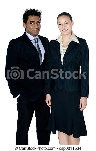 business people two young professionals in suits on white background