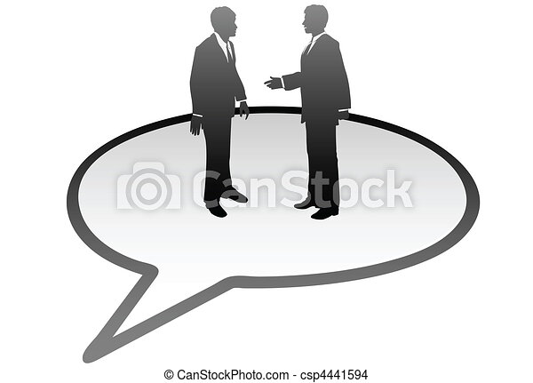 Business people talk inside communication speech bubble - csp4441594