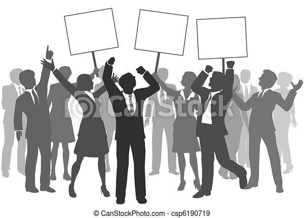 Business people team 3 signs celebrate success - csp6190719