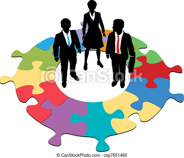 Business people team circular puzzle solution - csp7651460