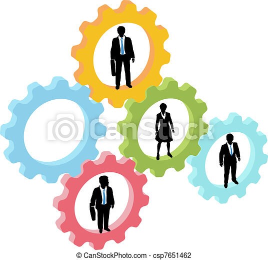 Business people team in technology gears - csp7651462