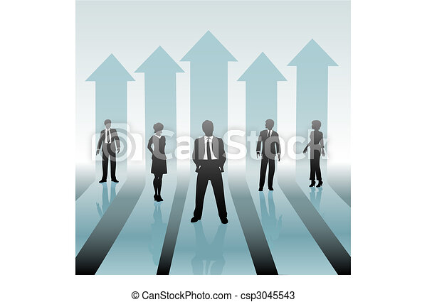Business People Team on Move Up Arrows - csp3045543