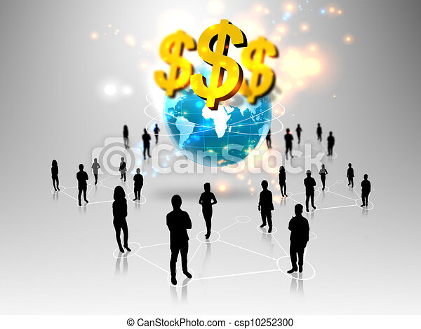 business people team with business world - csp10252300