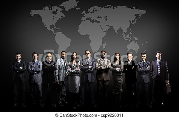 business people team with world map - csp9220011