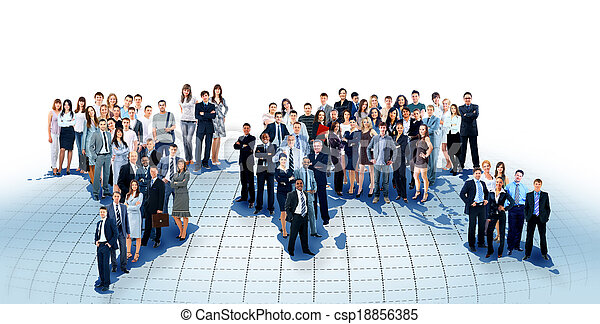 business people team with world map - csp18856385