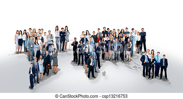 business people team with world map - csp13216753