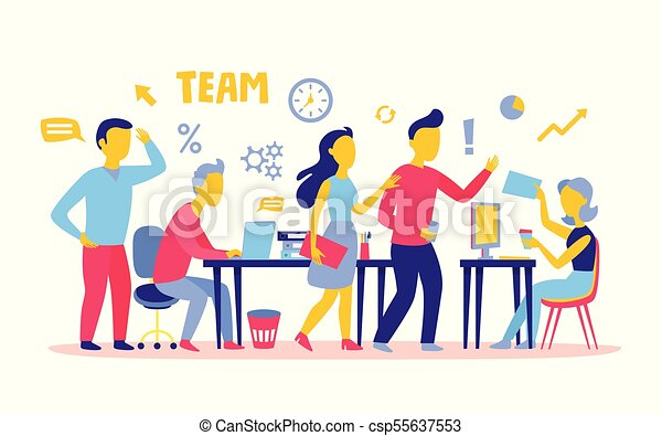 business people teamwork workers in office working together clipart rh canstockphoto ca