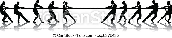Business people tug of war competition - csp6378435