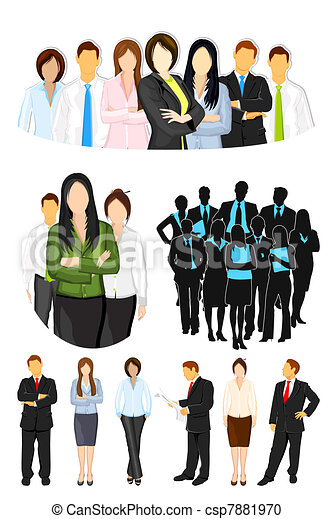 business people illustration of set of business people on isolated rh canstockphoto com Real Business People Clip Art Business People Icons